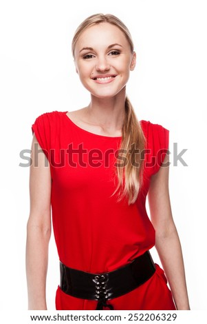 Beauty face of cheerful girl enjoying with clean healthy skin isolated on white background - stock photo