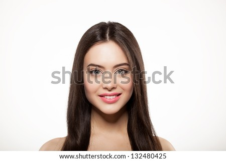 Beauty face of girl with clean fresh skin and long hair - stock photo