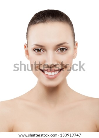 Beauty face of happy woman with clean fresh skin - isolated
