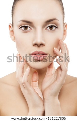 Beauty face of woman with clean skin - stock photo