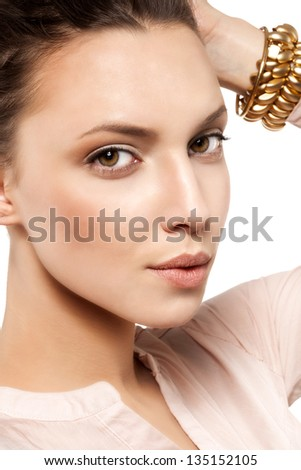 Beauty face of woman with clean skin , not isolated on white background - stock photo
