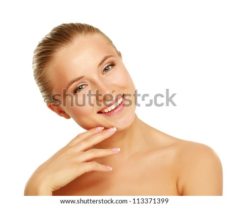 beauty face of young beautiful woman - stock photo