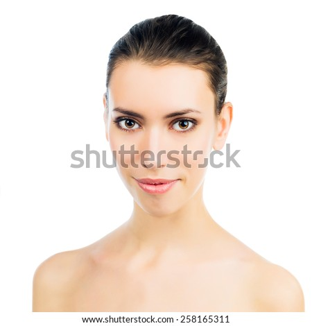 Beauty face of young woman. Skin care concept. Close Up portrait isolated on white. - stock photo