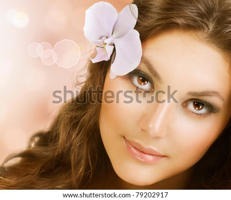 Beauty Face.Perfect Healthy Skin - stock photo