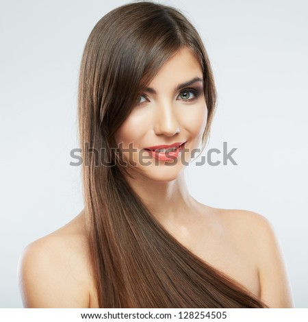 Beauty face woman portrait.  Young beautiful model. Close up smiling female face - stock photo