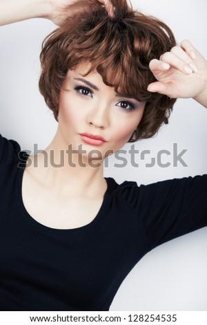 Beauty face woman portrait.  Young beautiful model. Short hair. - stock photo