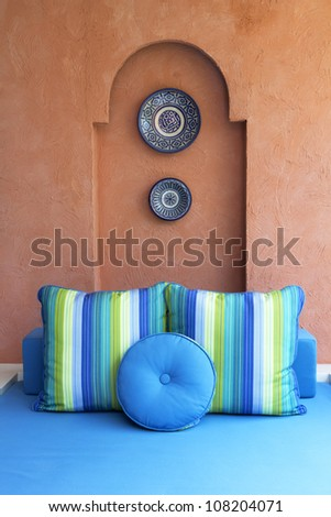 Beauty fancy blue bed and pillow - stock photo