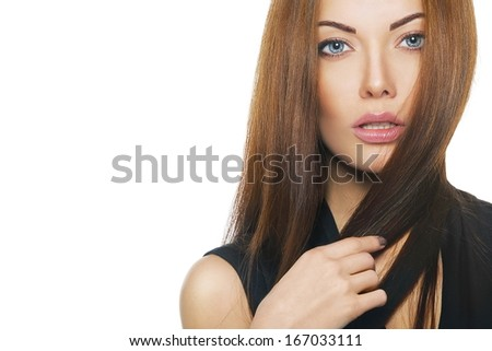 beauty fashion close-up Portrait of beautiful young woman with bright make-up - stock photo