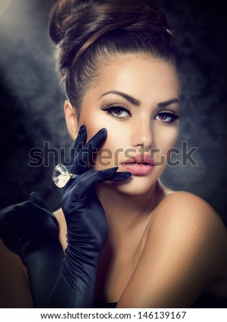 beauty fashion glamour girl portrait vintage stock photo