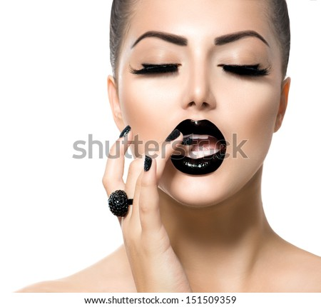 Beauty Fashion Model Girl with Black Make up, Long Lushes. Fashion Trendy Caviar Black Manicure. Nail Art. Dark Lipstick and Nail Polish - stock photo