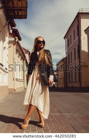 beauty fashion model, outdoor portrait, street photo, lips red, sunglasses, casual, city, hair, dress, jacket, emotional