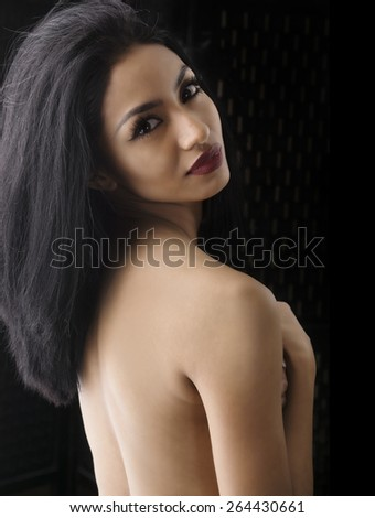 Beauty fashion portrait of exotic woman - stock photo
