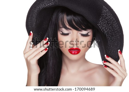 Beauty fashion sexy girl portrait in black hat. Red lips and polish manicured nails. Attractive cute model with long hair isolated on white background. - stock photo