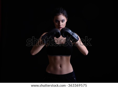 Beauty fashion teenage sport boxing girl  - stock photo