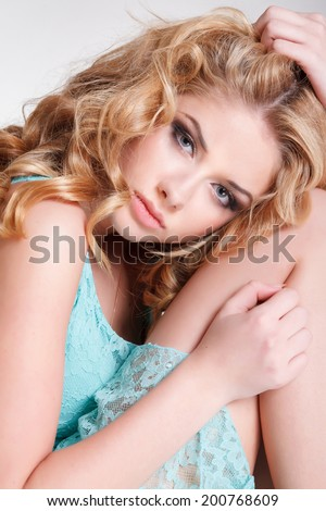 Beauty fashion woman, blonde young girl portrait. Naturally beautiful model with flawless skin. Studio, isolated. - stock photo