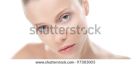 Beauty female face with perfect smooth healthy skin close up isolated on white background - stock photo