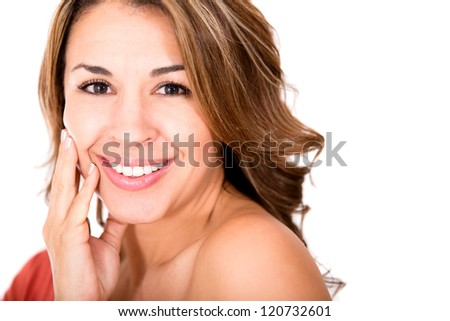 Beauty female portrait smiling - isolated over a white background - stock photo