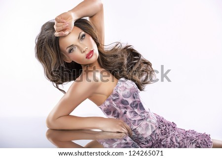 Beauty female portrait with perfect clean skin - stock photo