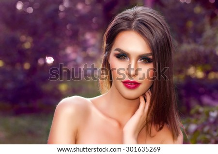Beauty Fresh Romantic Girl Outdoors. Beautiful young Woman face close up. - stock photo