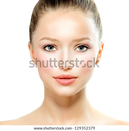 Beauty Girl. Beautiful Young Woman with Fresh Clean Skin, Beautiful Face. Pure Natural Beauty. Perfect Skin. Isolated on a White Background. Front Portrait of Beauty Girl. Youth - stock photo