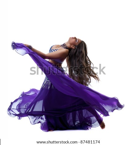 Beauty girl dance in traditional arabia costume - stock photo