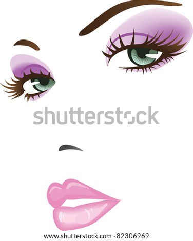 beauty girl face. design elements colorful illustration. Raster version. - stock photo