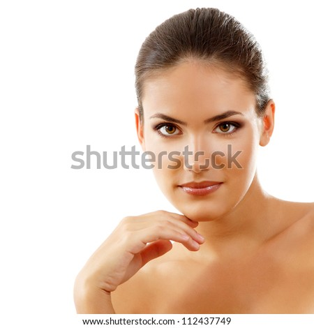 beauty girl, happy young natural beautiful woman over white background - stock photo