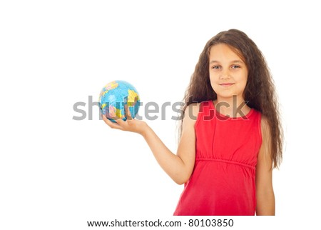Beauty girl holding small world globe isolated on white background