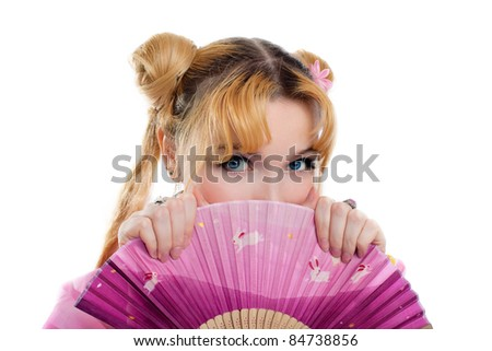 Beauty girl in kimono cosplay hide by fantail - stock photo