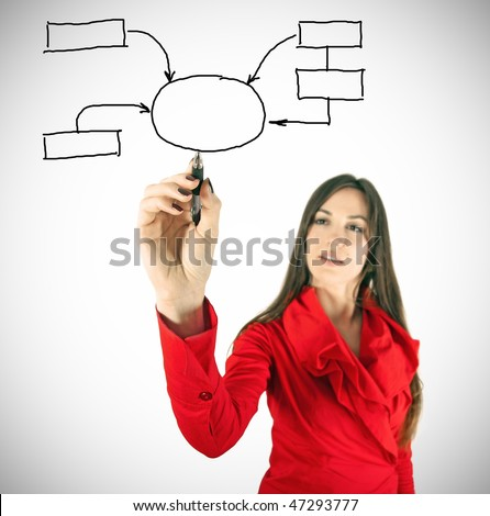 Beauty girl in red writing chart. Focus is on hand with pen. - stock photo
