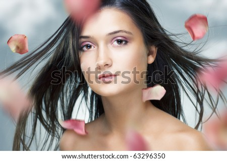 beauty girl on the blue background - stock photo