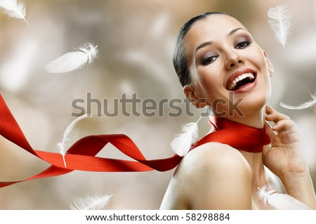 beauty girl on the blur background - stock photo
