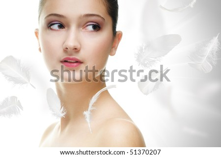 beauty girl on the grey background - stock photo