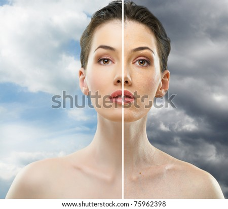 beauty girl on the sky background - stock photo