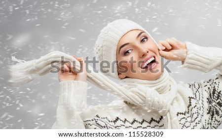 beauty girl on the snow background