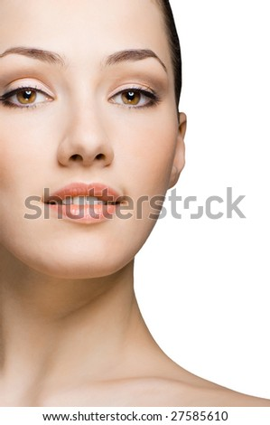 beauty girl on the white background - stock photo
