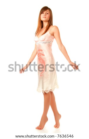 beauty girl on the white  background isolated