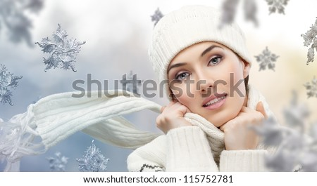 beauty girl on the winter background - stock photo