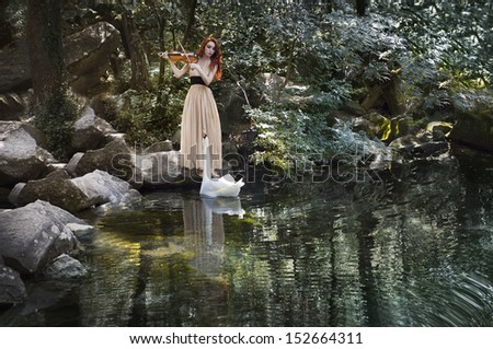 Beauty girl playing the violin .swan in the pond looking on here.Art portrait - stock photo