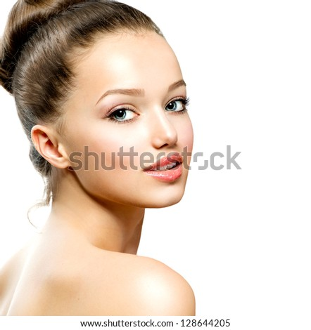 Beauty Girl Portrait. Beautiful Young Woman isolated on White Background. Fresh Clean Skin - stock photo