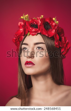 Beauty Girl. Portrait of Beautiful Young Woman with a wreath on his head. Fashion portrait. - stock photo