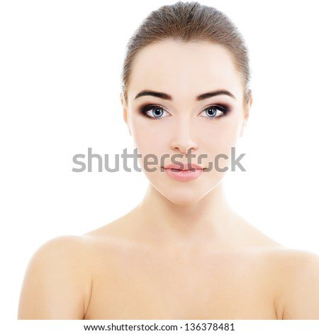 beauty girl portrait, young beautiful woman portrait with clean skin, face closeup over white studio shot