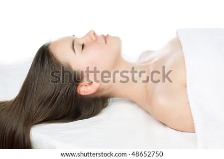 beauty girl spa om white background - stock photo