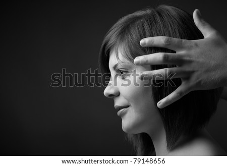 beauty girl with hairstyle - stock photo