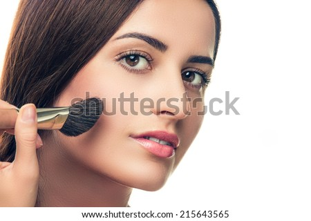 Beauty Girl with Makeup Brush. Perfect Skin. Applying Makeup - stock photo