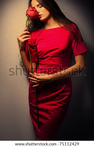 Beauty girl with rose - stock photo