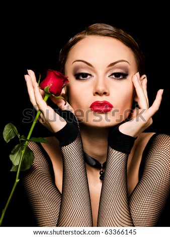 Beauty girl with rose in dark style - stock photo