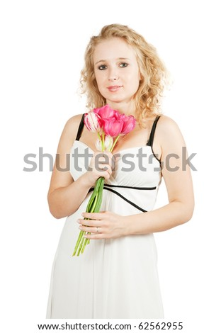 beauty  girl with tulips, isolated on white background