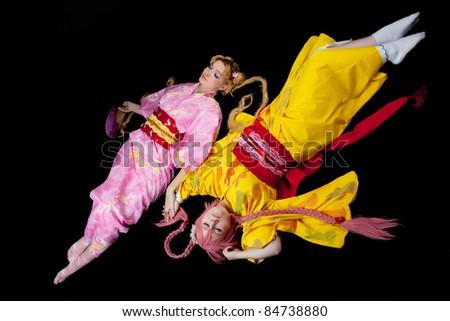 Beauty girls lay in kimono cosplay costume - stock photo