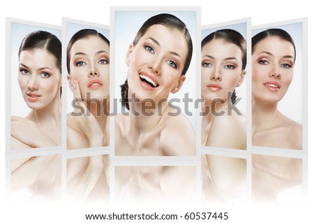 beauty girls on the blue background collage - stock photo